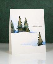 Weihnachtskarte, Wasserfarbe Landschaft mit Schnee…