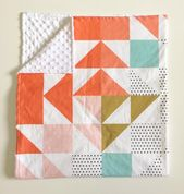 Coral Blush Aqua Minky Baby Blanket – Faux Fur – Triangle Puzzle Wholecloth Quil …   – Products