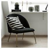 Heather Lounge Chair, Velvet , Green Palm Leaf Leg Colour: Brass Leg