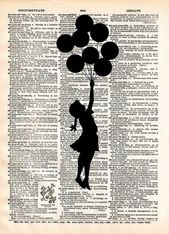 Banksy Girl with Balloons, street art, banksy print, vintage dictionary page book art print  – Products