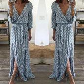 Women Ladies Clothing Floral Print Long Sleeve Boho Dress Lady Summer Deeprricdress