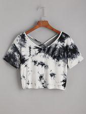 T-Shirt mit Batikmuster und Kreuzgurte hinten- Ger…