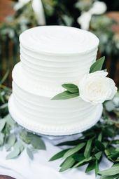 Classique & Clean à Deux niveaux Gâteau de Mariage, de la verdure, des couleur…