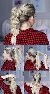 einfache-frisuren-blonde-schulterllange-haare-zopf-selber-machen-kariertes-hemd – Haarfrisuren