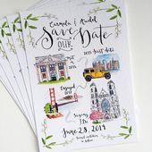 Illustrierte Geschichte Save the Date Hochzeitseinladungen / / benutzerdefinierte illustrierte Hochzeitseinladungen   – Hochzeit