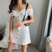 One-neck lace bubble sleeves off-the-shoulder button waist dress from FE CLOTHING