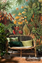Amazon Jungle Removable Wallpaper, Repositionable, Bright Plants, Colorful, Vintage Wall Mural, Tropical Wall Decor # 07