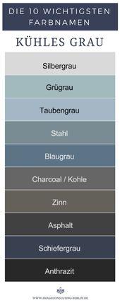 Kühle Grautöne sind Silbergrau, Graugrün, Taubengrau, Stahl, Blaugrau, Charco…