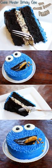 Cookie Monster Birthday Cake With Cookie Dough Filling   – Torten