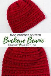 Buckeye Beanie – A Textured Crochet Hat – Crochet 365 Knit Too