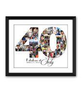 Vierzig 40 vierzigsten 40 große 4-0 30 30 21 21 besondere Geburtstag Digital bedruckbare Custom jede 1 oder 2 stellige Nummer-Foto-Collage