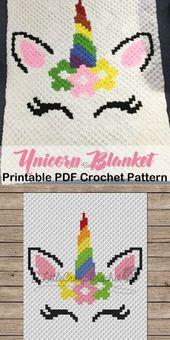 Baby Blanket Make a cute unicorn blanket c2c. Corner to corner pattern Unicorn Crochet Patter...