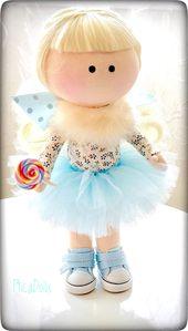 Spring sale Tilda home decor doll Blonde curly haired handmade rag doll Fairy princess sky blue doll with lollipop kawaii chibi totoro toy