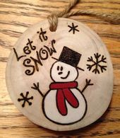Rustic LET IT SNOW hand-painted wood burned…