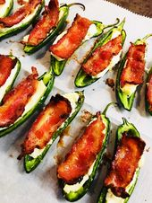 Cheesy Stuffed Jalapenos with Candied Bacon