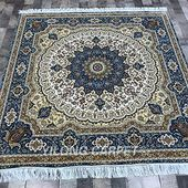 Yilong 5'x5′ Sqaure Oriental Rugs Classic Handmade Persian Silk Carpet for Living Room Blue