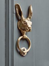 NEU Hasen-Türklopfer aus massivem Messing  – Door knocker