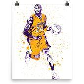 Kobe Bryant Los Angeles Lakers Dribbling Poster, Sports Art Print, Basketball Poster, Kids Decor, Man Cave