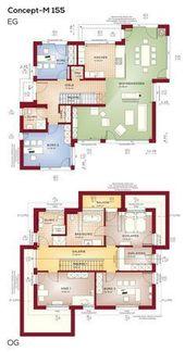 Grundriss Einfamilienhaus mit Büro Anbau und Satteldach-Architektur – Grundriss…
