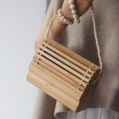 Classic Mild Wooden Bamboo Purses Ball Chain Informal Clutch