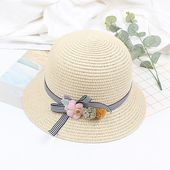 Girls Straw Hat Striped Bowknot Flower Foldable Sweet Cute Sun Summer Floppy Kids Beach Vacation Cap – Hat Collection