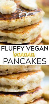 Wondrously Fluffy Vegan Banana Pancakes, incredibly easy to make with a mashed b…   – Food