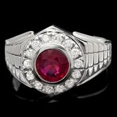 Anillo de diamantes de oro blanco de 14 k 1.50ct rubí 0.45ct de diamantes   – RUBY