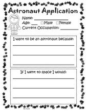 Astronaut application   kindergarten writing