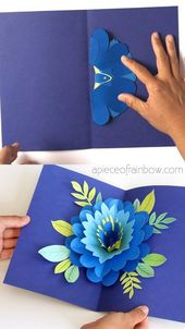 Easy DIY Happy Mother's Day card with beautiful big pop up flower: tutorial, vid…