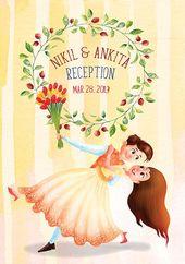 Illustrated Indian Wedding Sangeet Reception Invitation