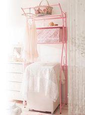 ピンク色の洗濯機ラック ランドリーラック