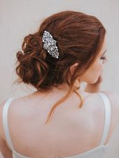 """Rachel"" Hair Comb in Rhinestone or Rhinestone/Pearl ~ Silver or Gold"