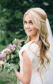 Hair half-up half-curled down short 20+ Ideas - Wedding Idea, Wedding Dress, W ... - Wedding Hairstyles - # Ruffled #Hair #Ha ...