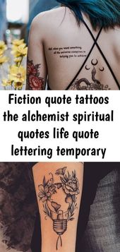 Fiction quote tattoos the alchemist spiritual quotes life quote lettering temporary tattoo sticker 9