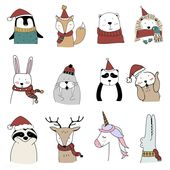 Baby Ilustration Hand drawn animals enjoying a Christmas holiday | free image by rawpixel.com