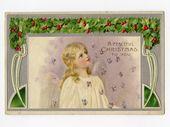 Photo of Antike Weihnachtspostkarte, Hübscher Engel, Art Deco von Ottmar Zieher geprägt Gebraucht – 12711P