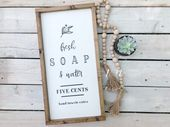 Fresh Soap And Water Sign – Bathroom Sign – Bathroom Decor – Fresh Soap Bathroom Sign – Boho Chic Ba – Products