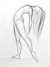 Bleistiftzeichnung – Einige Tänzerskizzen. Für manche habe ich ein paar Fotos