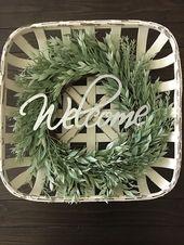 Tobacco Basket With Wreath | Honey Locust & Rosemary Wreath | Tobacco Basket | Farmhouse Decor | Rustic Decor | Wreath | Welcom