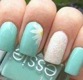 59+ Trendy Nails Blue Summer Ringfinger – Pin # nail #nail design #nageldesig …   – Nageldesign Schlicht