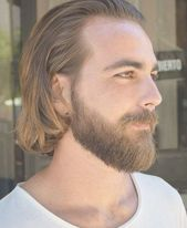 straight sweep back with beard style long hairstyles for men 2018