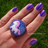 Kawaii Unicorn Iridescent Purple Glitter Resin Dome Ring, Fantasy Resin Bubble Ring, Fairy Princess Magical Statement Ring, Glitter Fusion