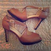 Leather Platform Heels Gorgeous Talbots leather platform heel in medium brown ha…