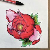 Pivoine dessiné à main levée. Cette conception flash disponible pour le tatouage par: @drone_oni #pe …   – tattoo