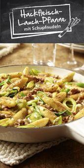 Carne picada y puerro con fideos de papa   – Essen