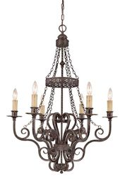 Six Light Bronze Up Chandelier Candle Style Chandelier