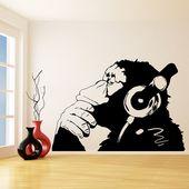 Banksy Thinking Monkey Wall Sticker – Vinyl Art Print Dj Waterproof Thinker Smart Decal – Street Thought Headphones Music Think Stickers