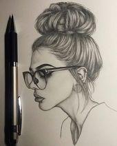 cheveux longs en chignon, comment dessiner un corps de femme, lunettes noires, piercing sur les lèvres   – Cartoon Drawings