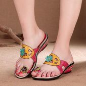 Casual Women Leather Printed Summer Slippers