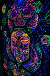 DIMENSION-MATRIX Tapestry, Blacklight, Fluorescent Visonary Art, Wall hanging, Psytrance, Cosmos, Sacred, Fractal, Psychedelic Tapestry